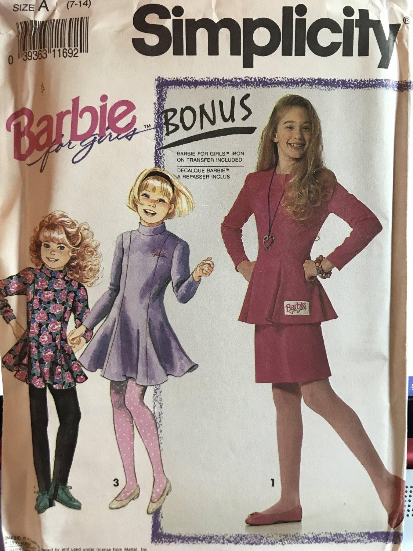 Simplicity 7464 Barbie for Girls Dress, top, jacket, skirt, leggings size 7 -14 sewing pattern