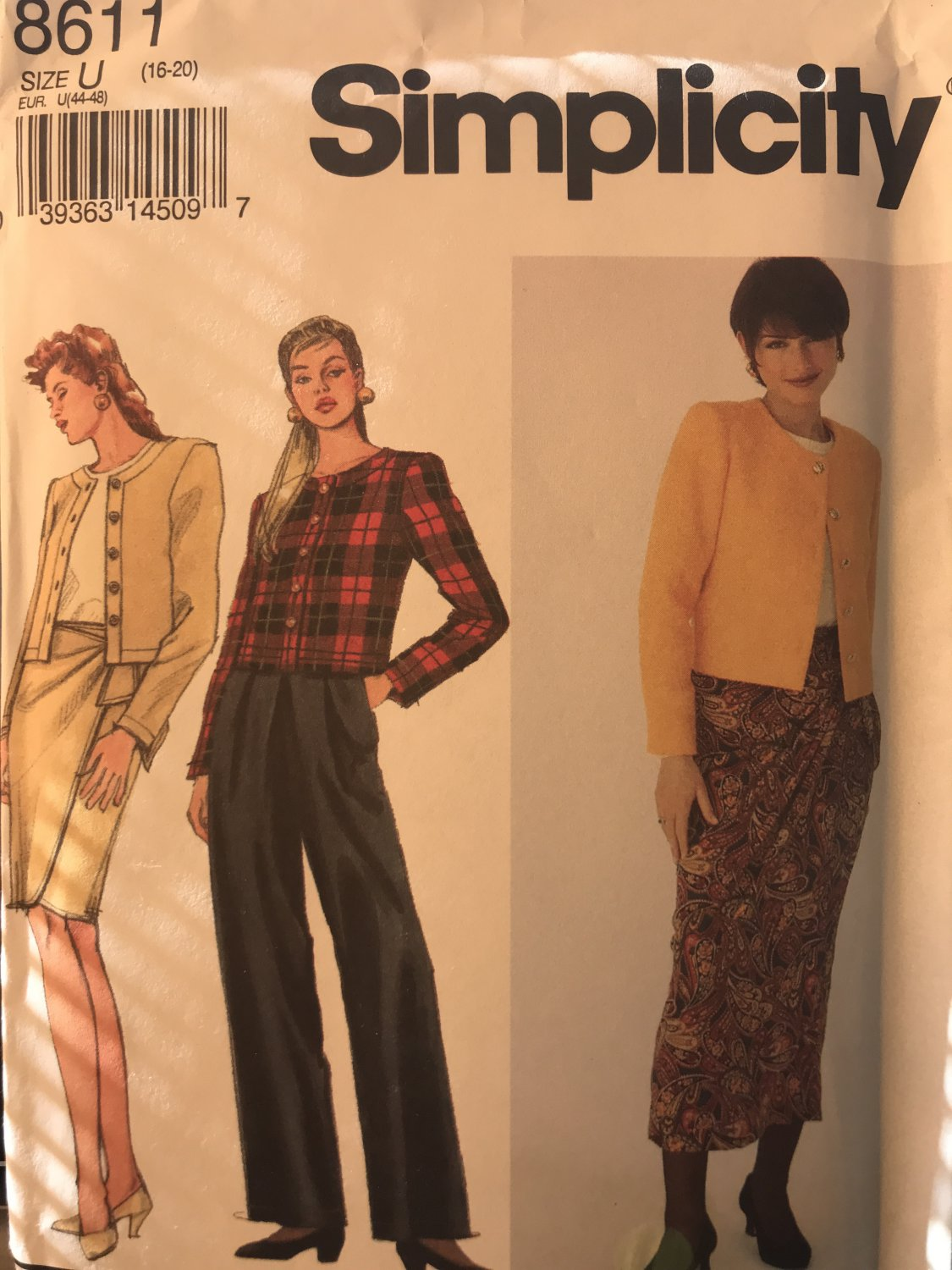 Simplicity 8611 Misses Mock Wrap Skirt, Pants and unlined Jacket Size 16-20 Sewing Pattern