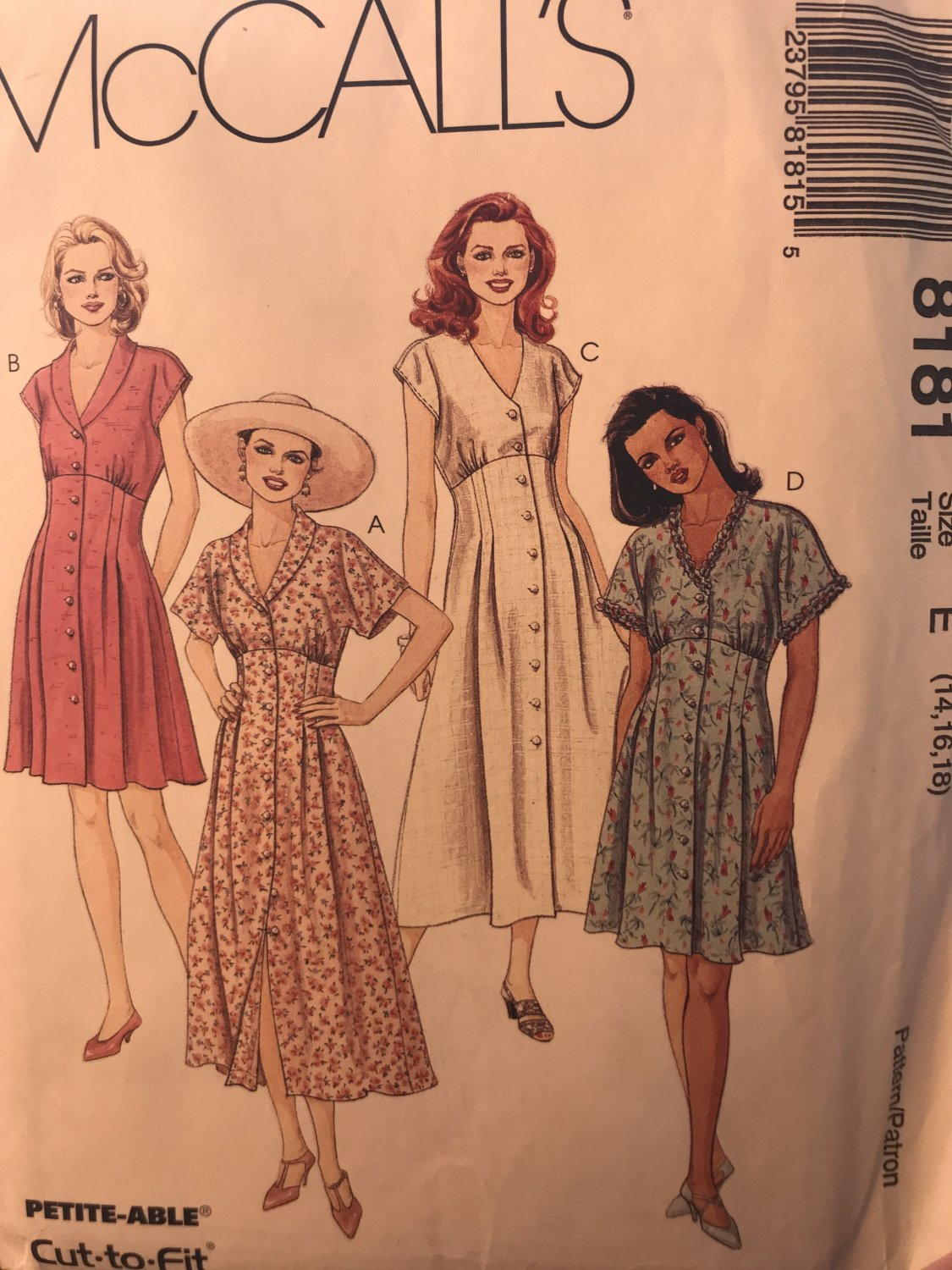 McCall's 8181 Misses' Summer Dress in Two Lengths Sewing Pattern size 14 16 18