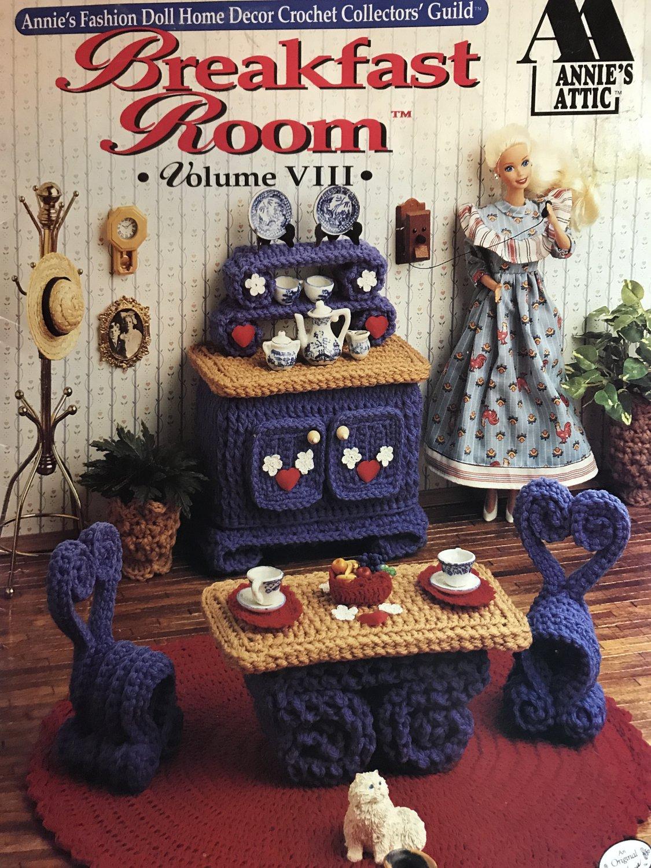 Breakfast Room VIII Annie 's Attic Crochet Fashion Doll Furniture Pattern Booklet 535b