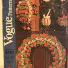 Vogue 8410 538 No Sew Ribbon Pattern Christmas Decor Mistletoe Ball, Ornaments, Wreath