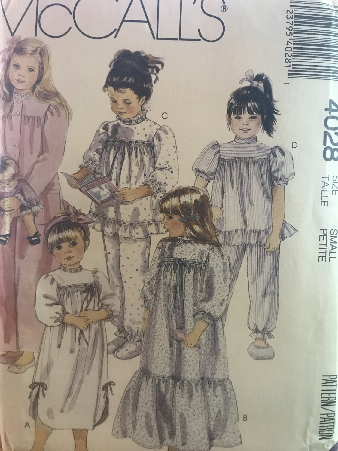 McCall's4028 Toddlers' Robe, Nightgowns, Pajamas and Booties Sewing Pattern size 2