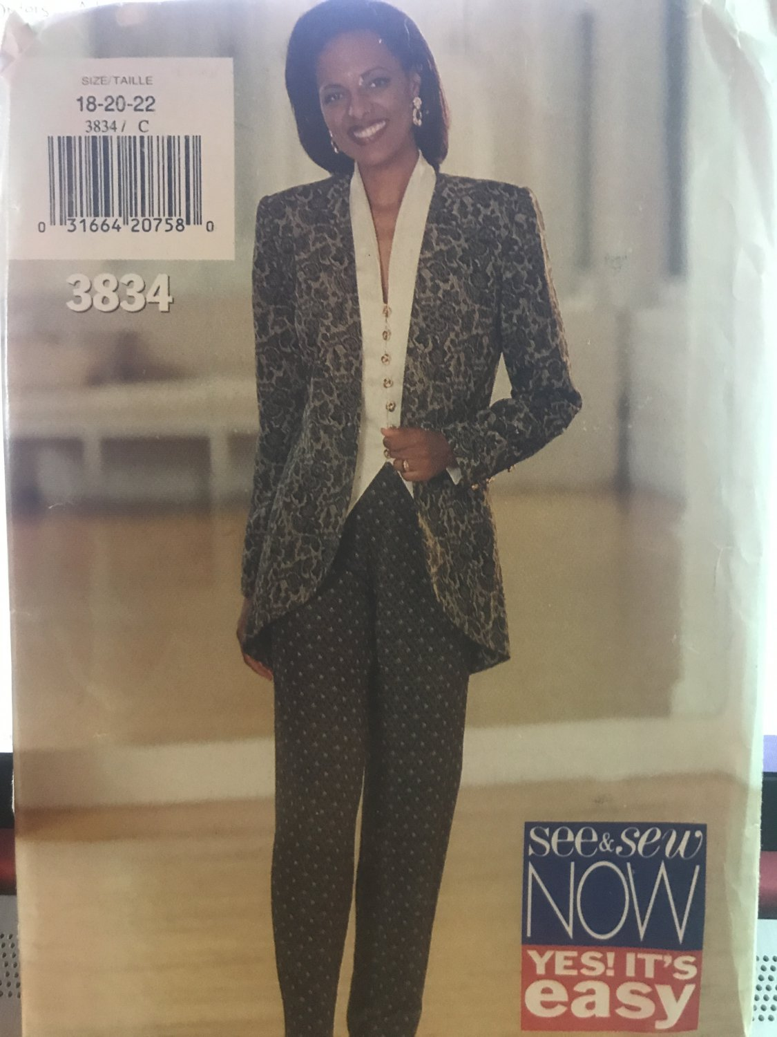Butterick 3834 See & Sew Misses  Jacket Top Pants Size 18 to 22 Sewing Pattern