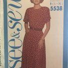 Butterick 5538 Misses' Pullover dress Size 16 to 22 Sewing Pattern