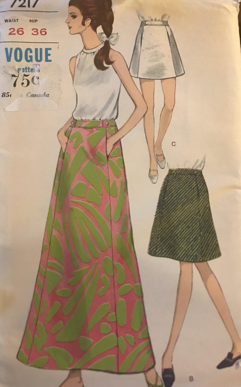 "Vogue 7217 Maxi Skirt, Mini Skirt and Knee Length Sewing Pattern Size 26"" Waist, 36"" Hip"
