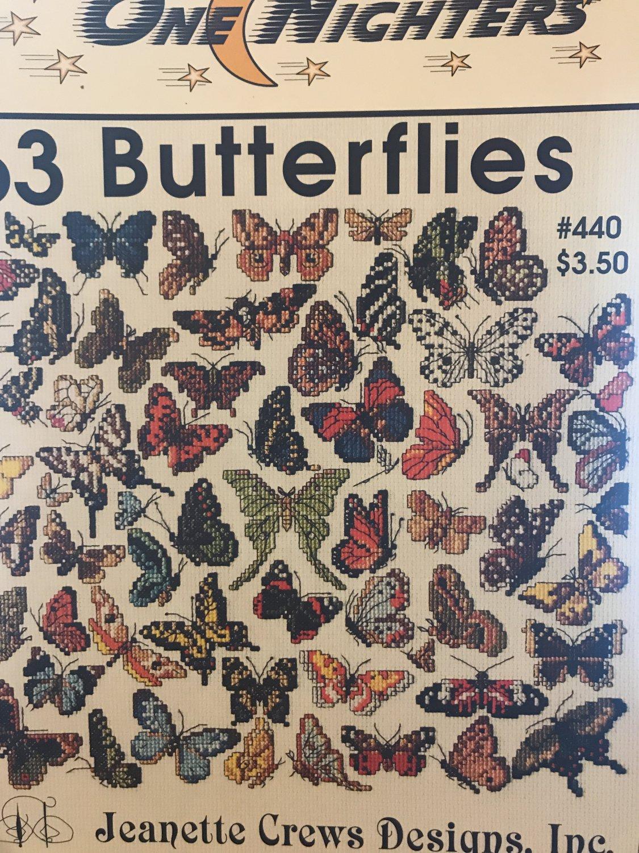 63 Butterflies One Nighters Cross Stitch Pattern Jeanette Crews Designs #440