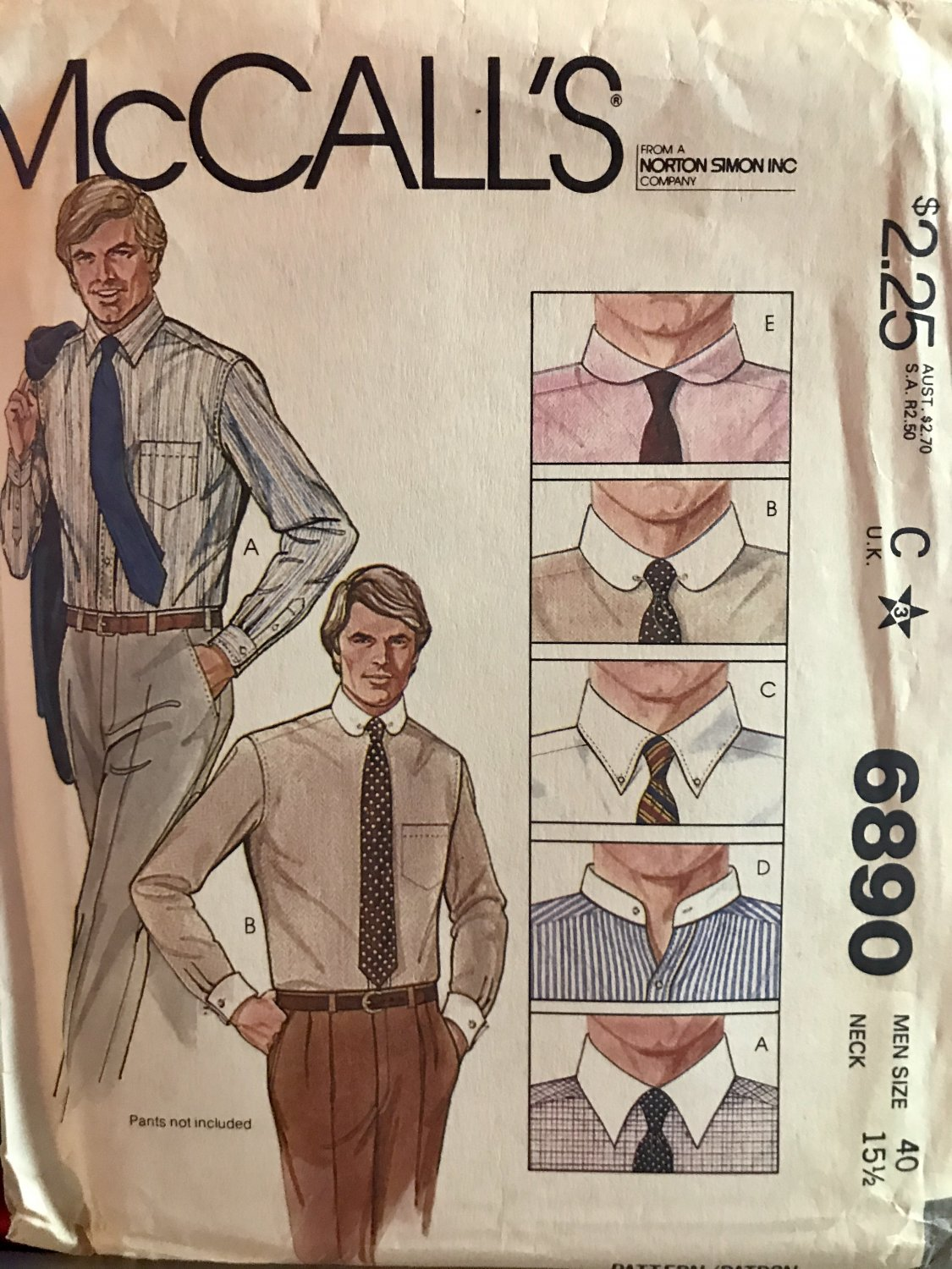 McCall's 6890 Men's Shirt with 5 Collar Variations size 40 sewing pattern