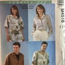 McCall's 4518 Misses Mens and Teen Boys Shirts Long or short sleeves Sewing Pattern Size XL - XXL