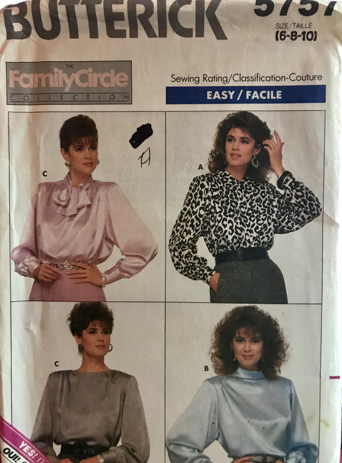 Butterick 5757 The Family Circle Collection Misses' Blouse Sewing Pattern Size 6 8 10