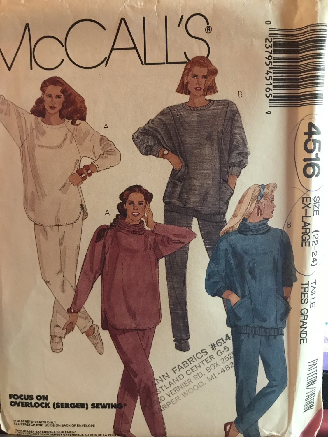 McCall's 4516 Misses Tops. detachable Cowl, Pants for Stretch Knits only Sewing Pattern Size 22 24