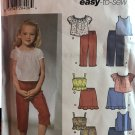 Simplicity 5706 Child's Capri pants, skirt in two lengths and tops Sewing Pattern Size 3 4 5 6