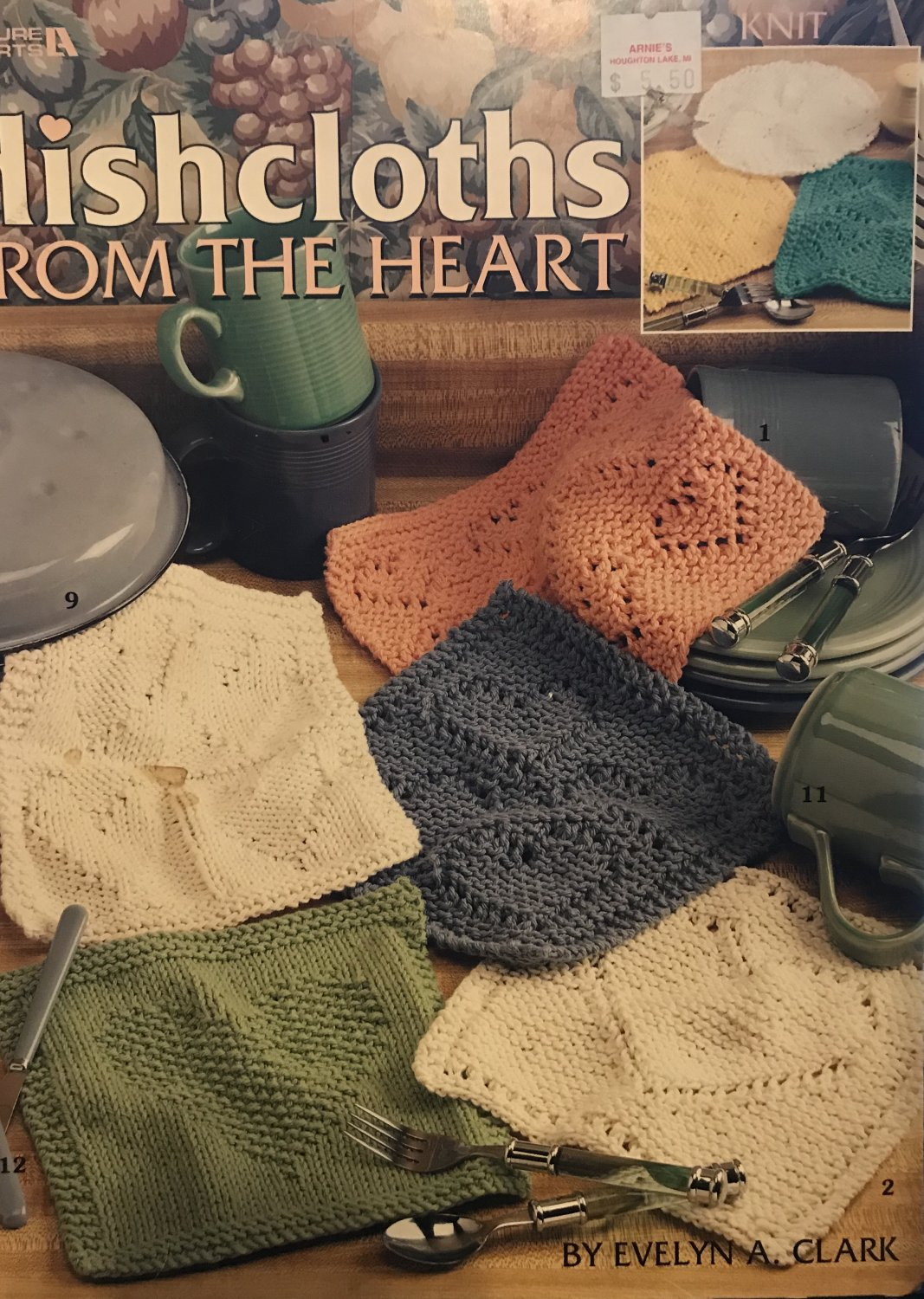 Dishcloths from the Heart to Knit Leisure Arts 3253 Knitting Pattern 15 Designs