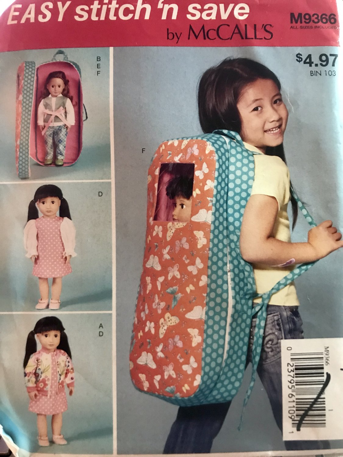 """McCall's Sewing Pattern MP602 M7701 M9366 18"""" Doll Clothes and Doll Carrier, OSZ(One Size)"""