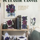 Pansies in Bloom in Plastic Canvas Leisure Arts 1119 tissue cover, coasters, doorstop, switchplate