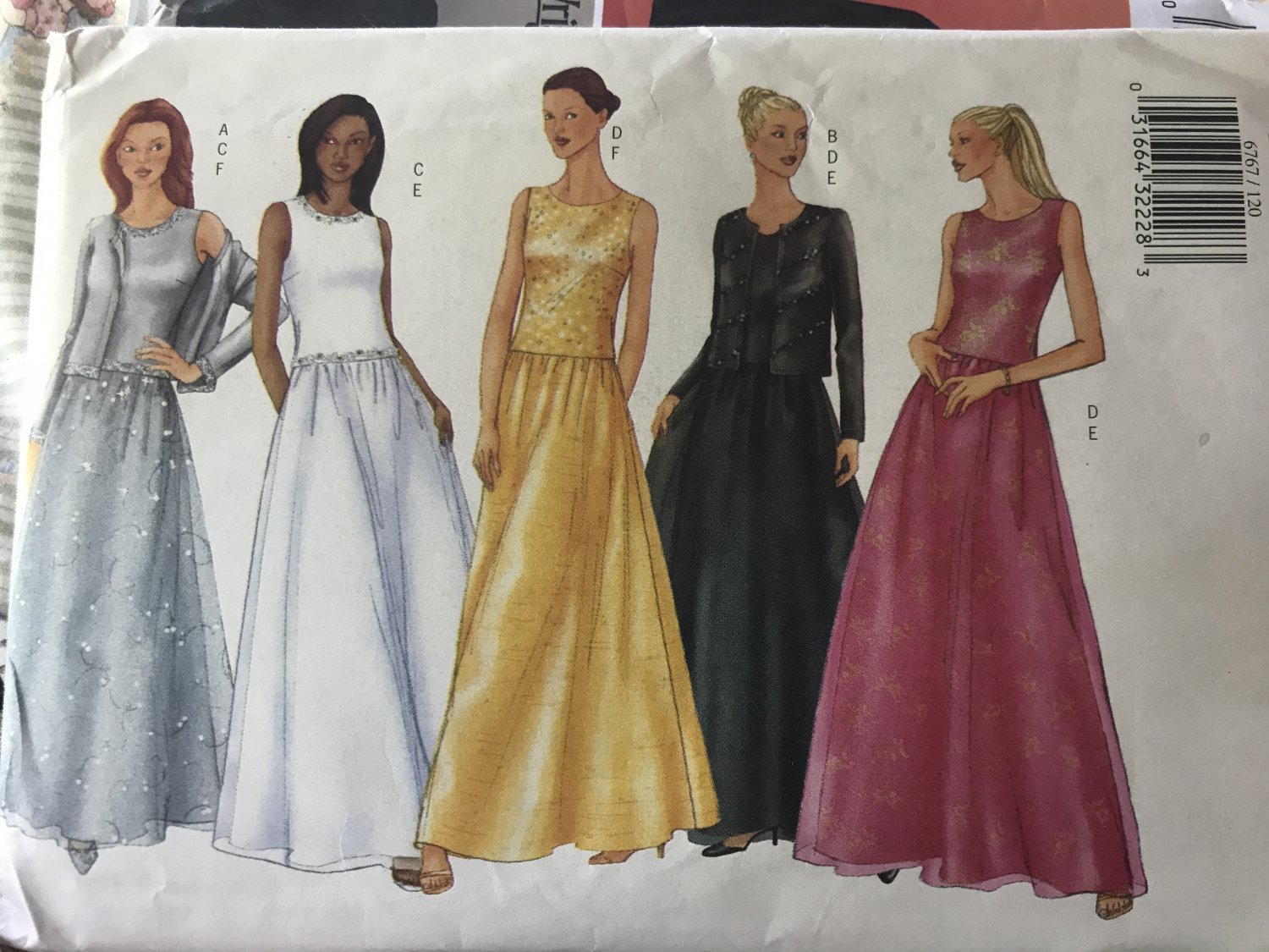 Butterick 6767 Sewing Pattern Misses' Cardigan, Top Skirt prom or evening wear look Size 12-14-16