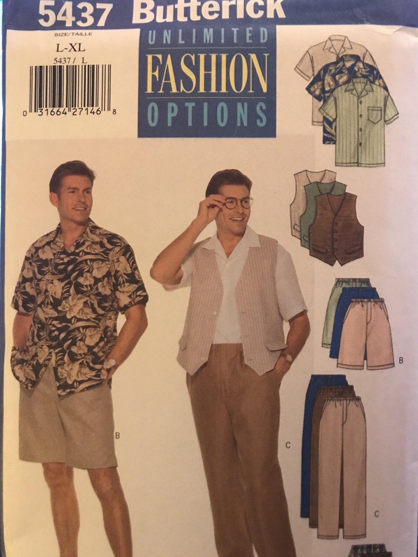 Butterick 5437 Men's Vest Shirt Shorts Pants size L - XL Sewing Pattern