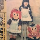 """McCalls 4268 8078 628 36"""" Raggedy Ann Andy Rag Doll Clothes Childs Apron Sewing Pattern Transfer"""