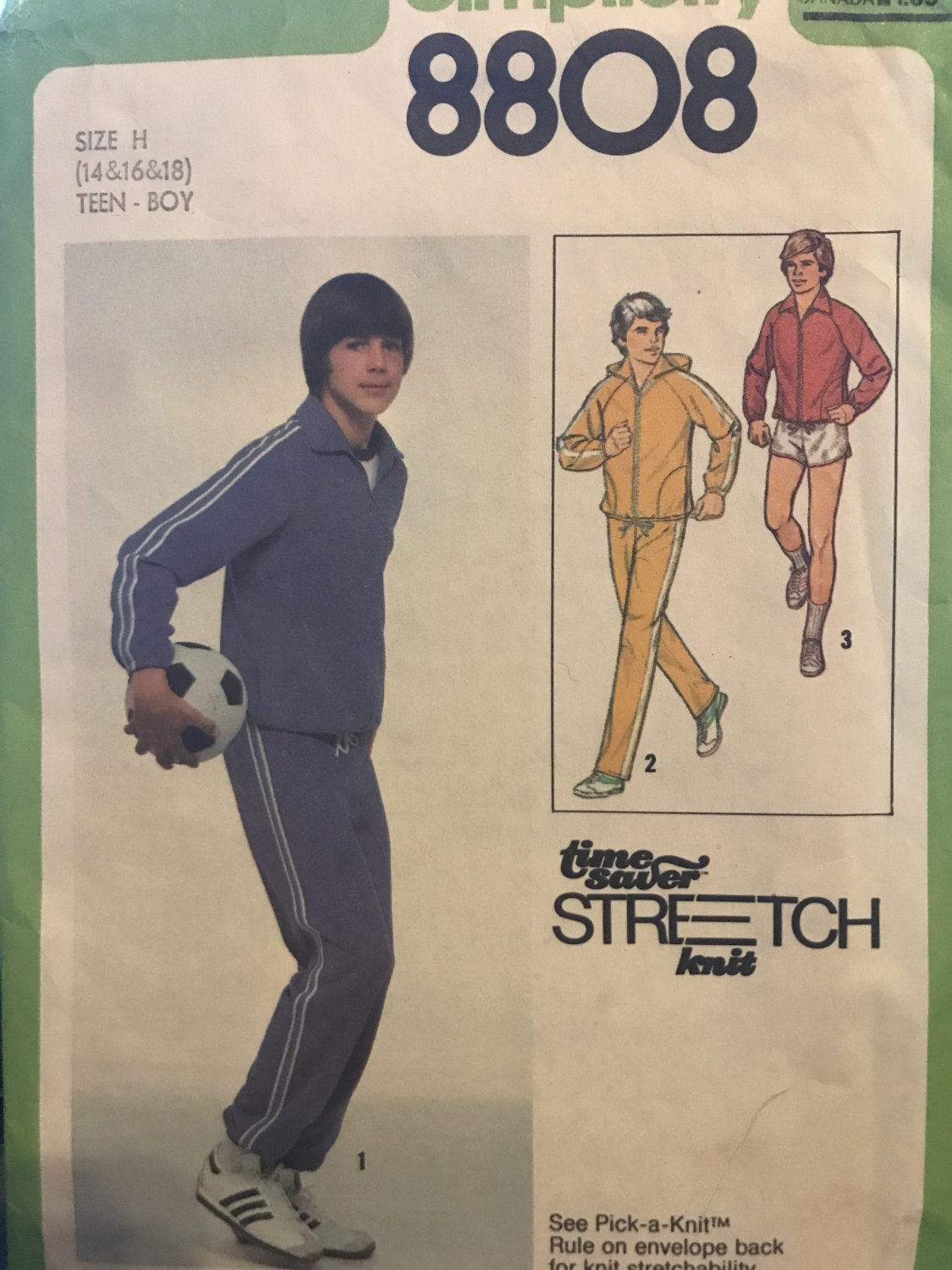 Simplicity 8808 Teen Boy's Jacket with or without Hood, Pants Shorts Sewing Pattern size 14 16 18