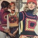 "Coats  & Clark""s  Studio Card No. 4 Rib Ticklers Groovy Retro Vests Crochet Pattern 1970's"