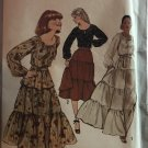 Peasant Boho Style Sewing Pattern Simplicity 8305 Two Piece Dress Sewing Pattern Size 10