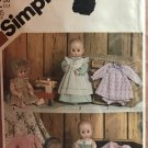 """Vintage UNCUT Simplicity Pattern 5615 - Wardrobe for Size Large 17"""" to 18"""" Baby Dolls"""
