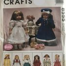 """McCall's 8555 18"""" Doll Clothes  Raincoat, dresses, skirt sweater"""