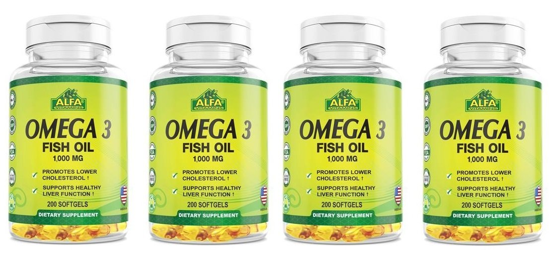 Alfa Vitamins ,Omega 3 Fish Oil 1000 mg - 200 softgels ( 4 bottles, 800 softgel)