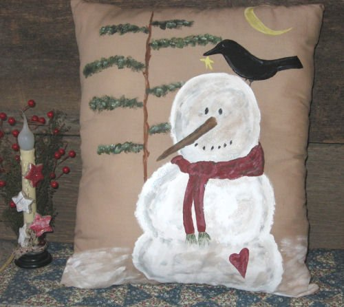 Primitive Snowman & Crow Hand painted Pillow