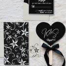 Gloriour Black Matte Floral Wedding Invitations
