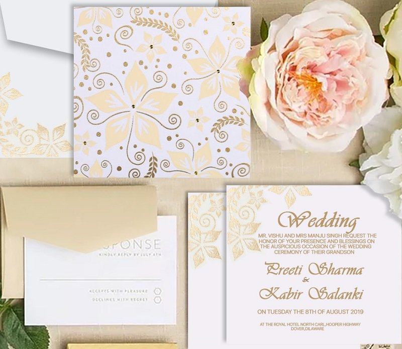 Light Yellow Modern Indian Wedding Invitation