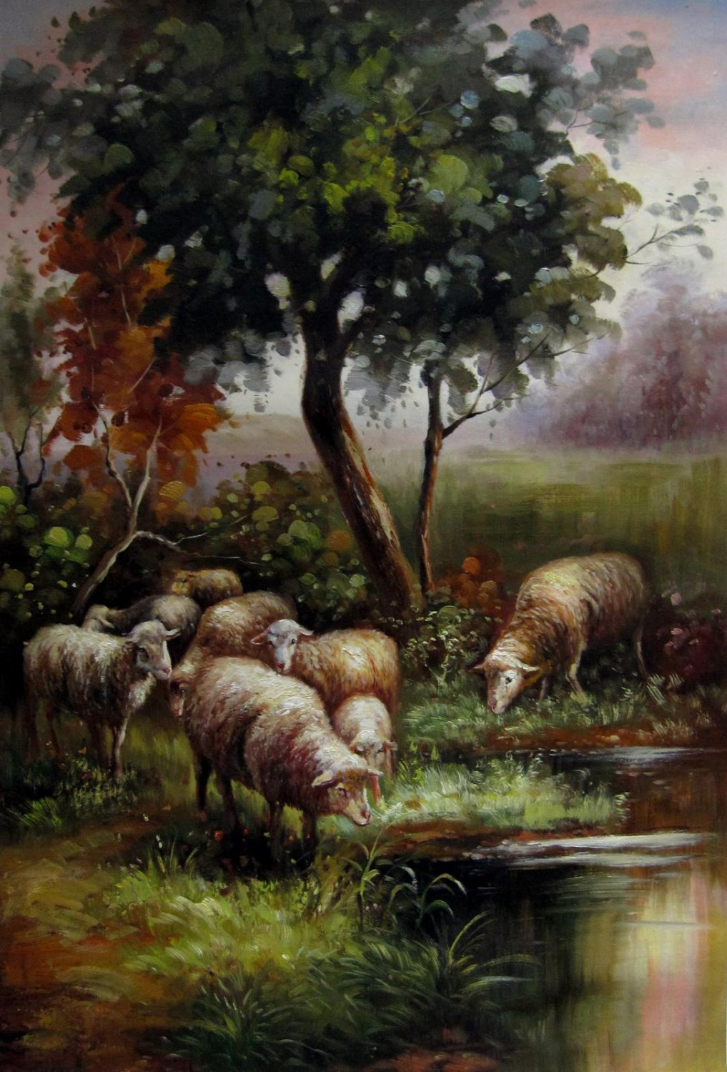 Sheep 24x36 in. stretched Oil Painting Canvas Art Wall Decor modern001