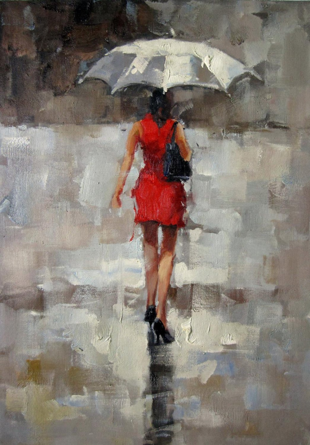 In the rain 24x36 in. stretched Oil Painting Canvas Art Wall Decor modern030