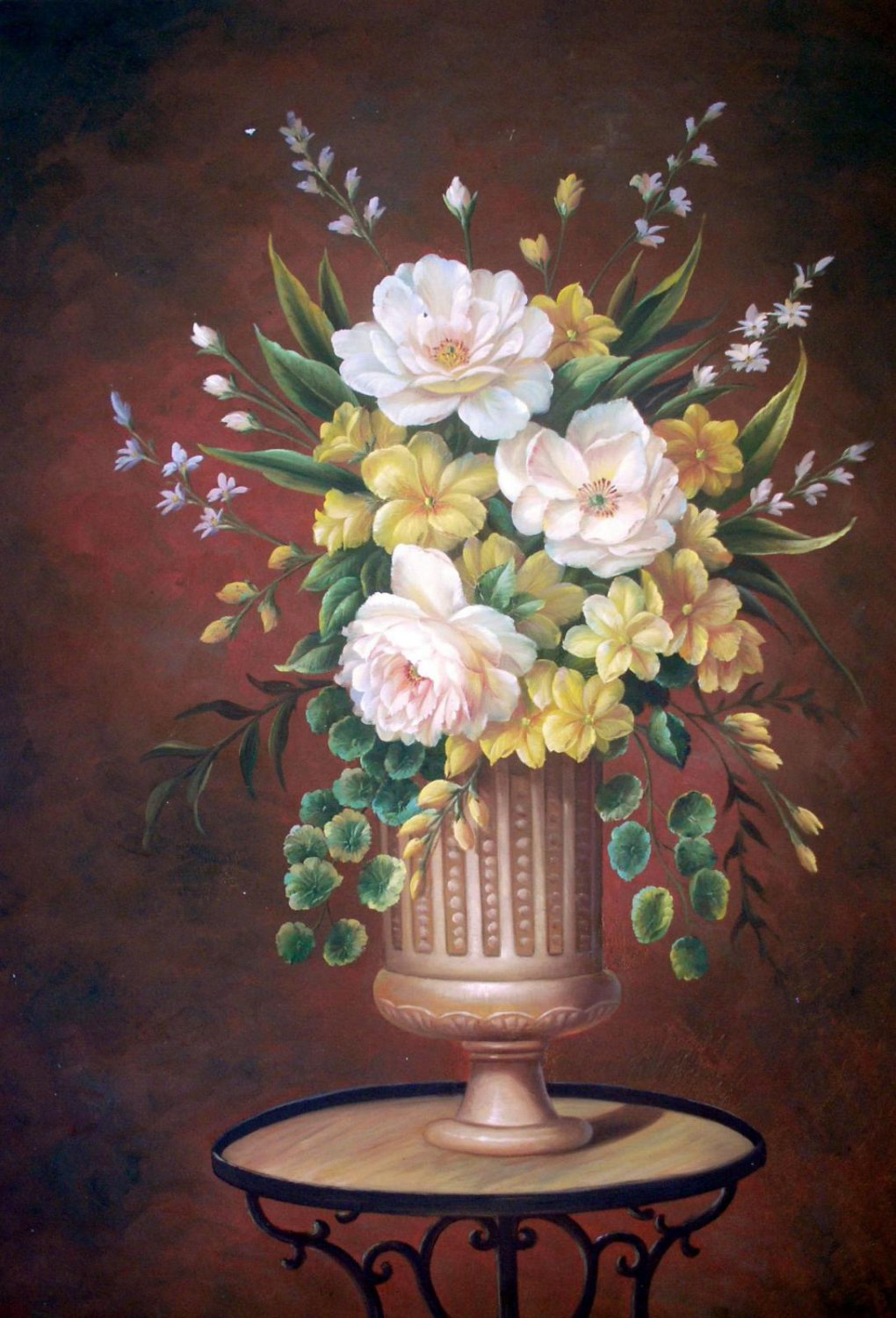 Vase Flower 24x36 in. stretched Oil Painting Canvas Art Wall Decor modern501