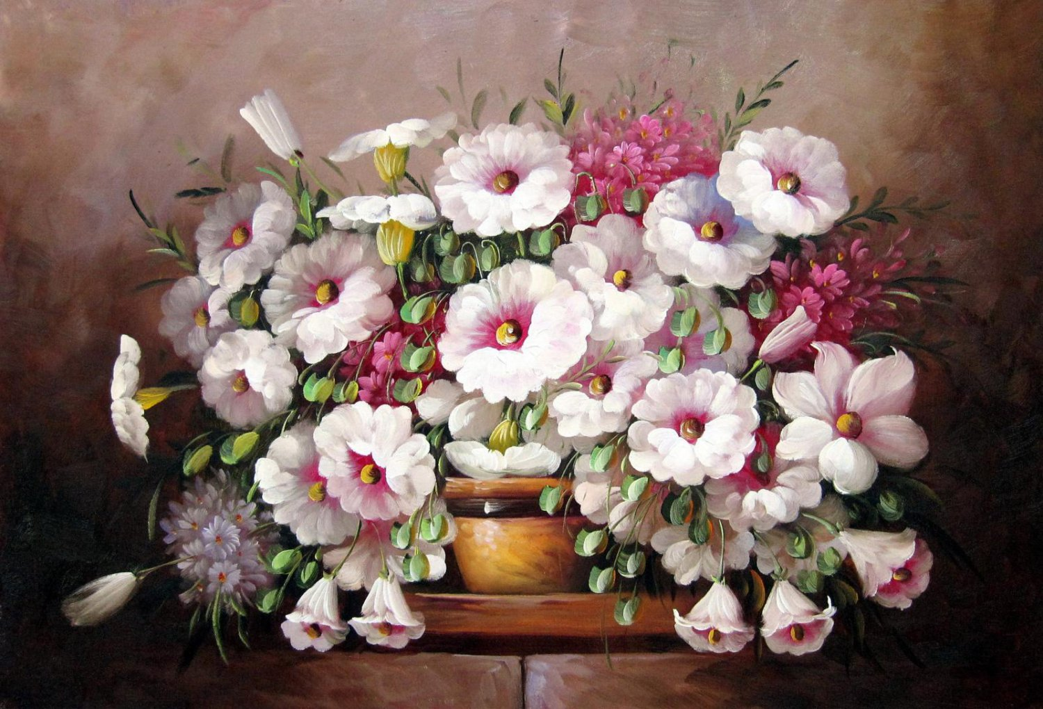 Vase Flower 24x36 in. stretched Oil Painting Canvas Art Wall Decor modern519
