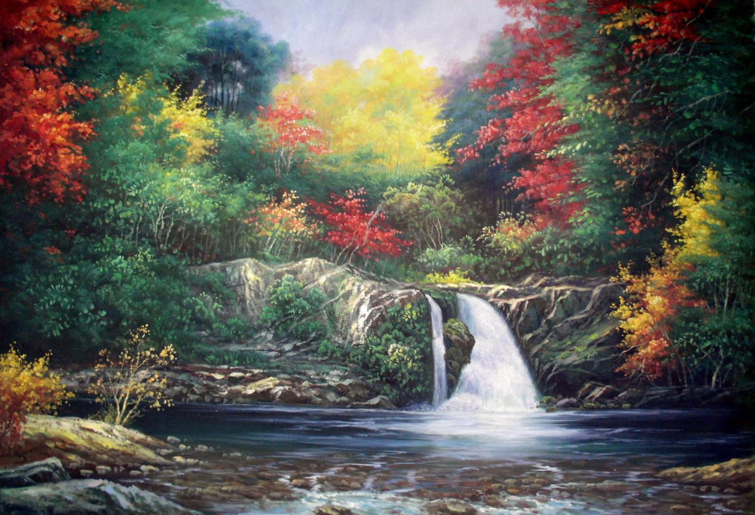 Waterfall 24x36 in. stretched Oil Painting Canvas Art Wall Decor modern001