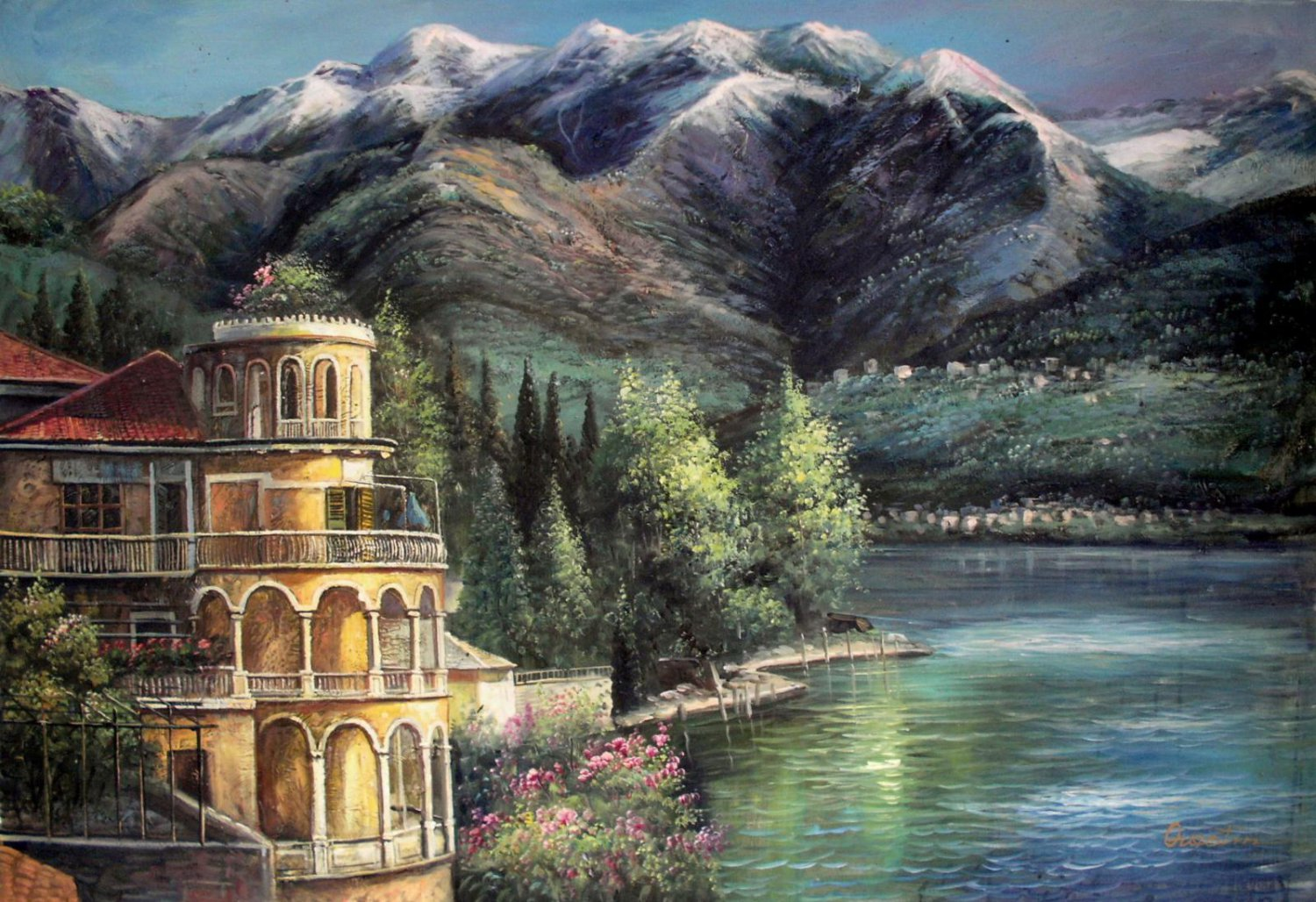 Waterside 24x36 in. stretched Oil Painting Canvas Art Wall Decor modern103