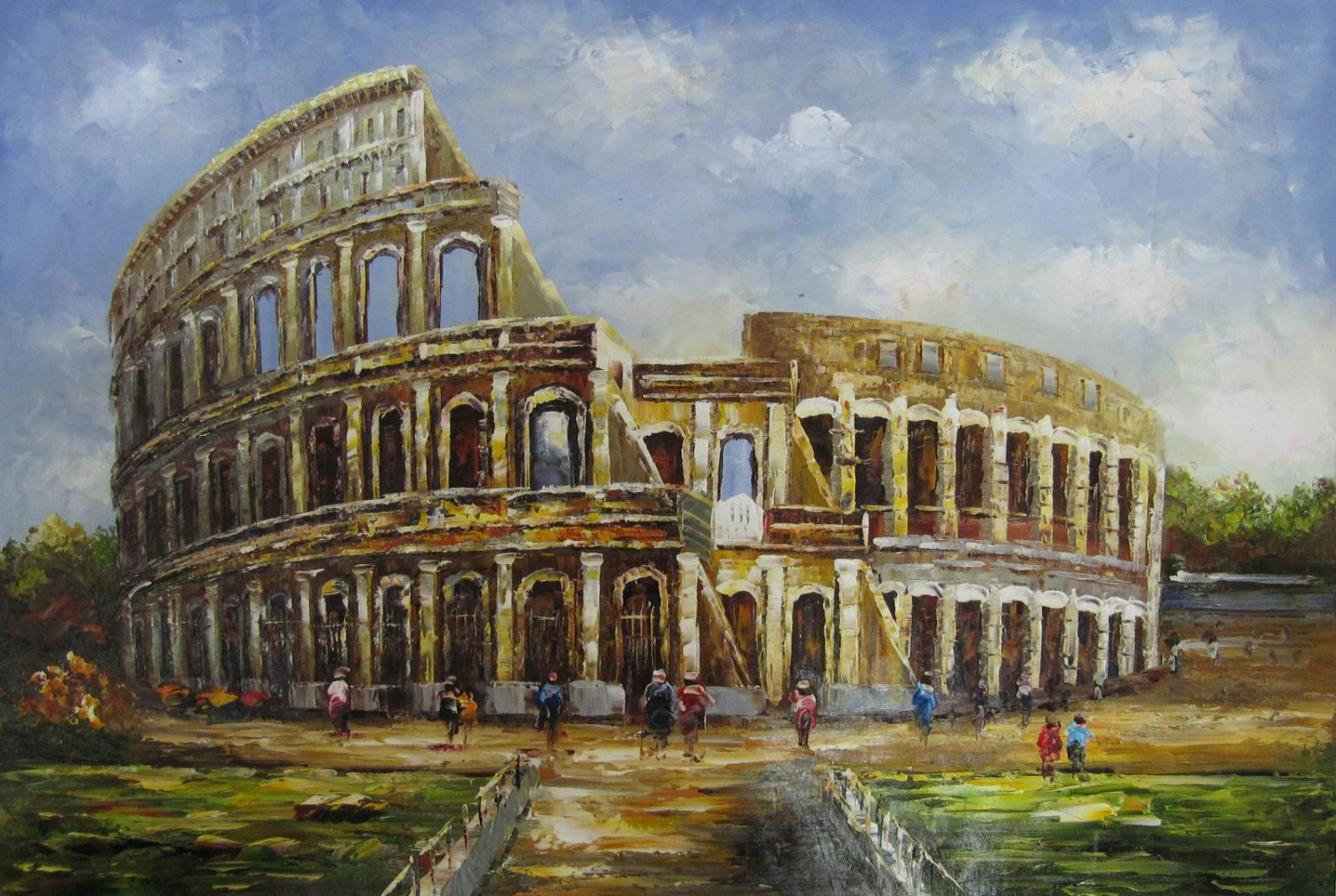 Colosseum 24x36 in. stretched Oil Painting Canvas Art Wall Decor modern001
