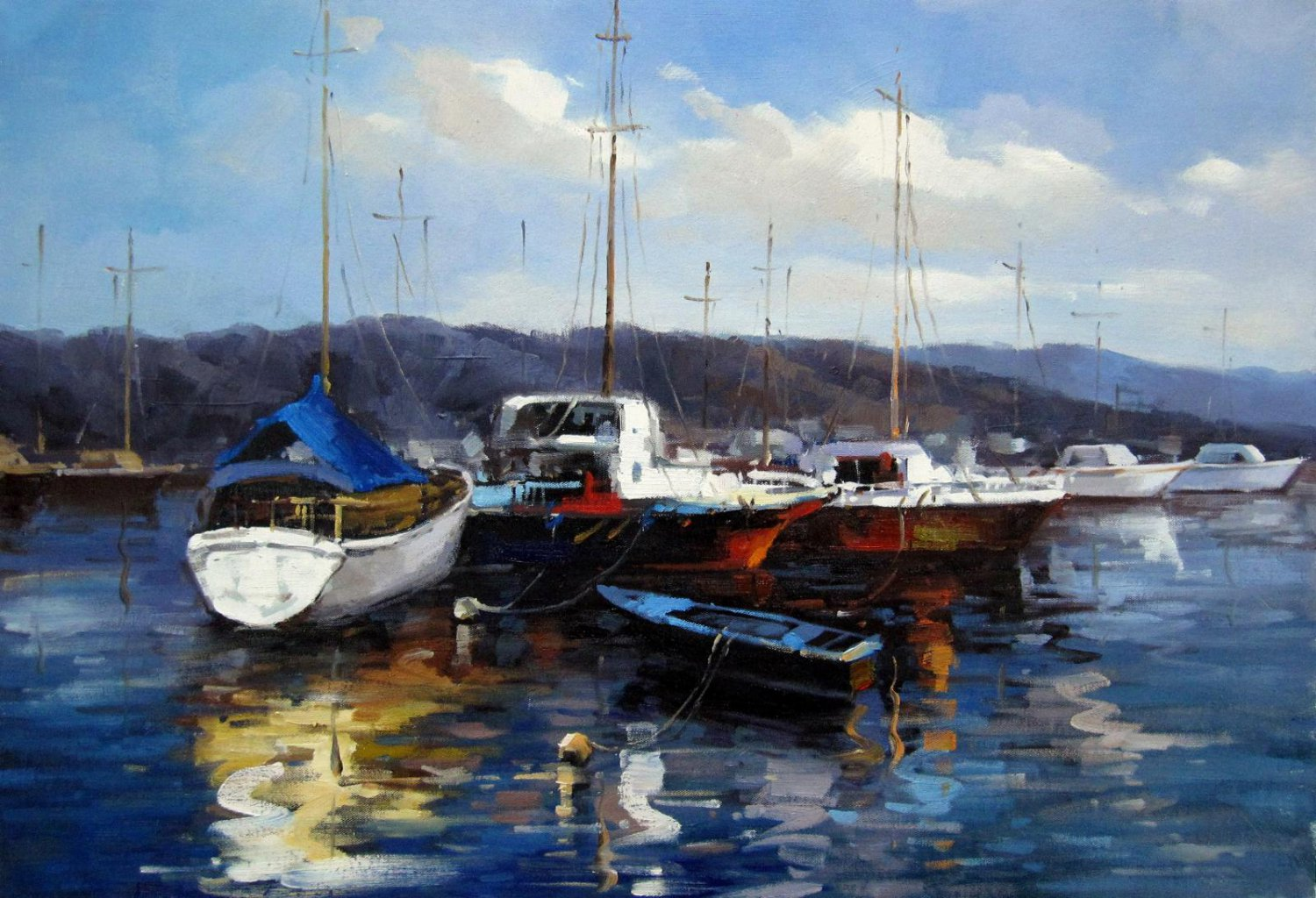 Yacht 24x36 in. stretched Oil Painting Canvas Art Wall Decor modern21D