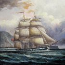 Tall ship sailing 24x36 in. stretched Oil Painting Canvas Art Wall Decor modern11D