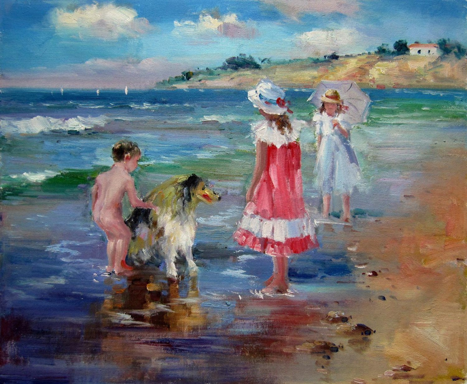 play at the beach 20x24 in. stretched Oil Painting Canvas Art Wall Decor modern245