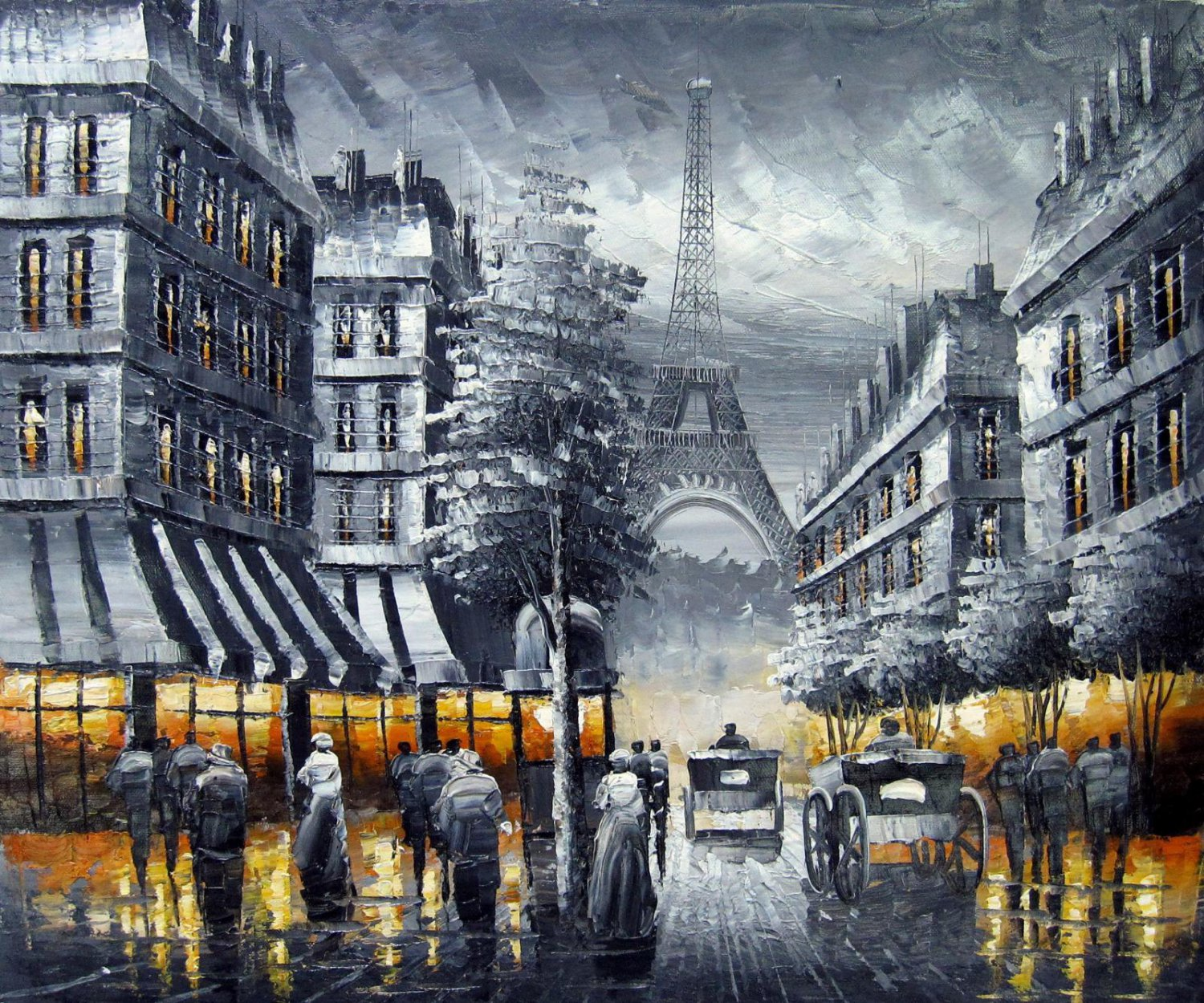 Paris 20x24 in. stretched Oil Painting Canvas Art Wall Decor modern406