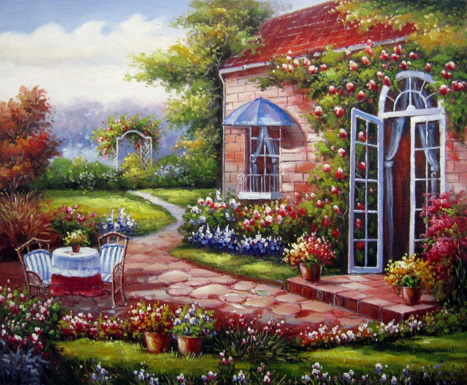Garden 20x24 in. stretched Oil Painting Canvas Art Wall Decor modern103