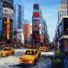 Time Square 20x24 in. stretched Oil Painting Canvas Art Wall Decor modern104