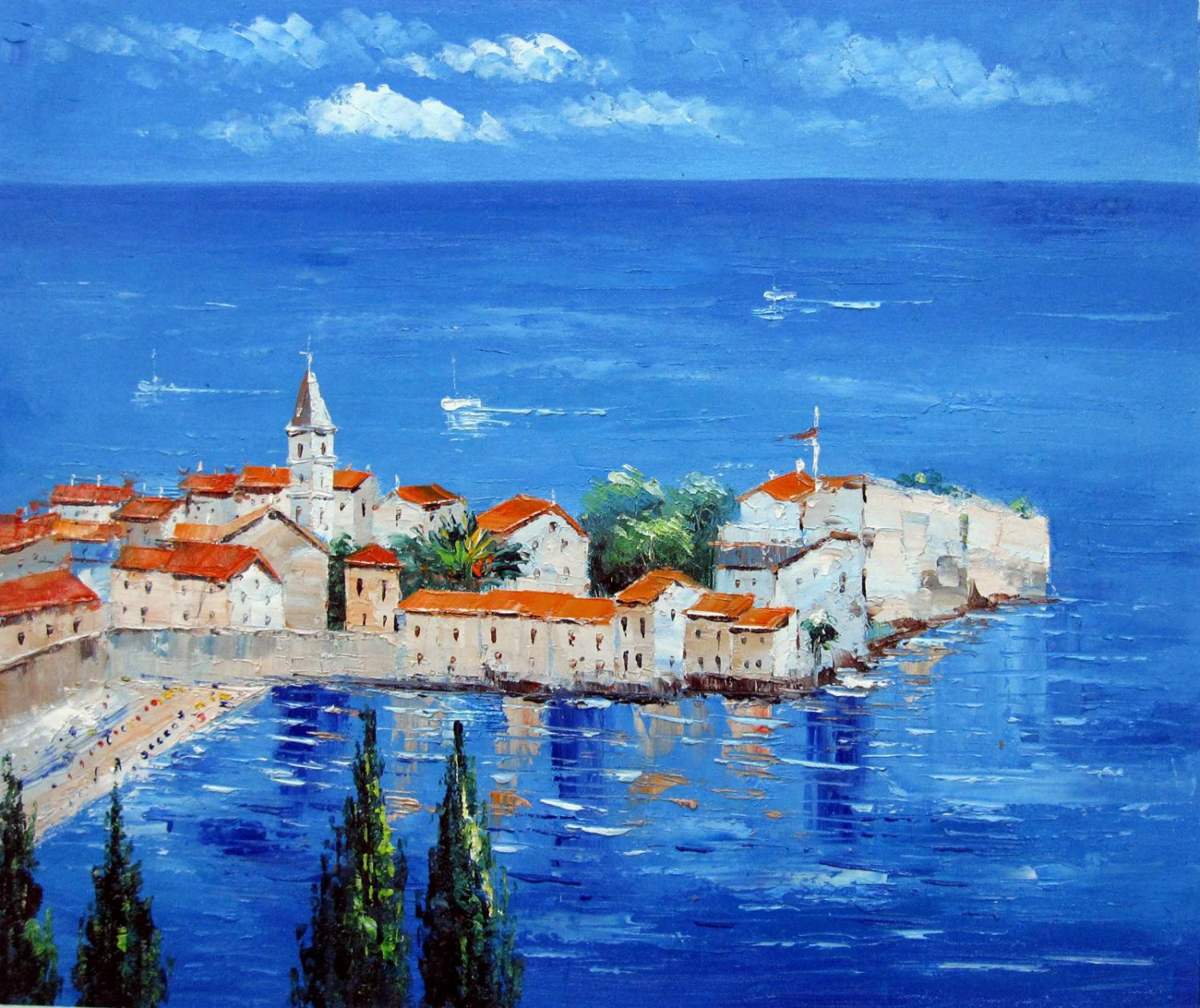 Mediterranean 20x24 in. stretched Oil Painting Canvas Art Wall Decor modern99D