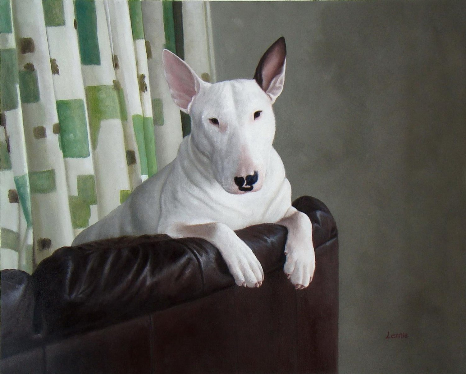 prtrait of pet dog 20x24 in. stretched Oil Painting Canvas Art Wall Decor modern001