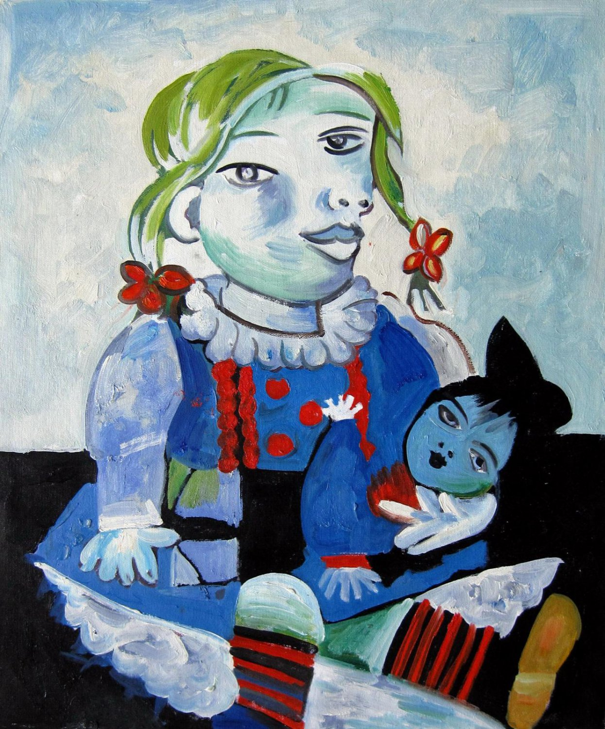 Rep. Pablo Picasso 20x24 in. stretched Oil Painting Canvas Art Wall Decor modern005