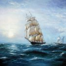 Tall ship sailing 20x24 in. stretched Oil Painting Canvas Art Wall Decor modern08D