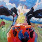 Cow 20x20 in. stretched Oil Painting Canvas Art Wall Decor modern07D