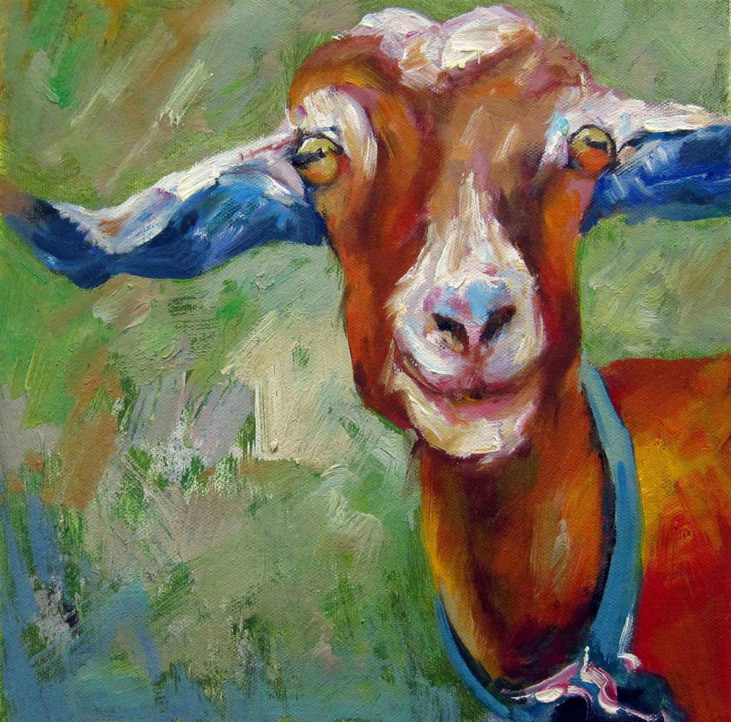 Goat 20x20 in. stretched Oil Painting Canvas Art Wall Decor modern01D