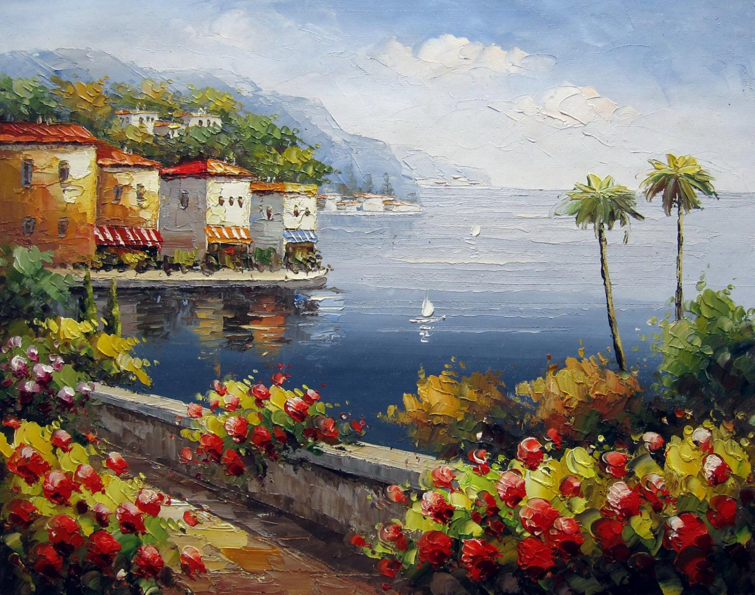 Mediterranean 16x20 in. stretched Oil Painting Canvas Art Wall Decor modern413